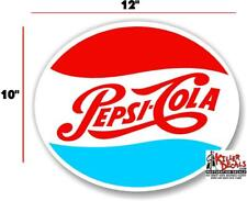 """(PC226) 12""""  '70's OVAL PEPSI FOR SODA POP VENDING MACHINE DECAL COOLER"""