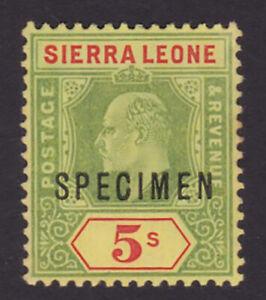 Sierra Leone. SG 97s, 5/- green & red/yellow, specimen. Fine mounted mint.