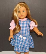 Plaid School Jumper + Pink Ruffle Blouse 18 in Doll Clothes Fits American Girl B