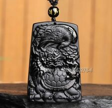 Natural Black Obsidian Carved Turtle Dragon Phoenix Lucky Pendant + Necklace