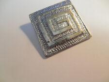 Silver tone square modern design pendant magnetic clasp