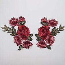2pcs Rose Flower Motif Applique Badge Embroidered Floral Collar Sew Patch Dress