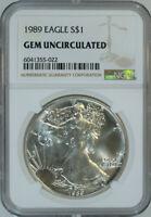 1989 American Silver Eagle Dollar $1 / .999 Pure / Certified NGC GEM BU 🇺🇸