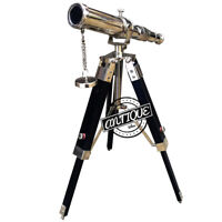 Antique Telescope Marine Nautical Brass Pirate Spyglass w/ Tripod Wood Stand New