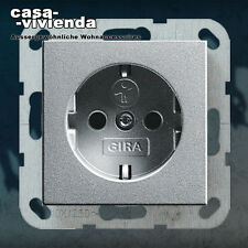 SCHUKO-Steckdose KS GIRA Standard 55®, E2®, Glasrahmen KLEIN55 - Alu