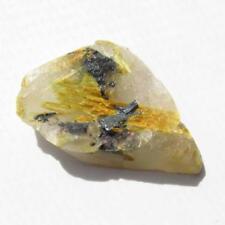 Golden Rutile Star on Quartz Crystal Slice  Novo Horizonte Bahia Brazil MSC985