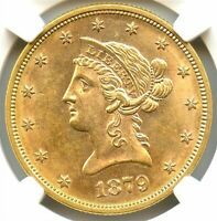 1879-S $10 Gold Eagle, NGC MS-63 Very Rare, Wonderful Luster, Light Lilac Toning