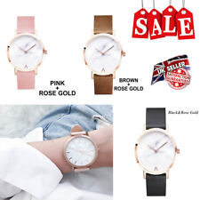 New Women Ladies Ultra Thin Marble Face Rose Gold Analog Quartz Wrist Watch Gift