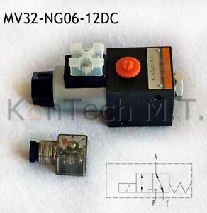 Hydraulik Magnetventil 3/2-Wegeventil - NG06 - 50 l/min - 12V DC - inkl. Stecker