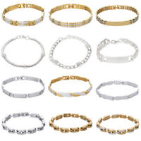 Two Tone Stainless Steel Men's Punk Chain Link Bracelet Wristband Cuff Bangle