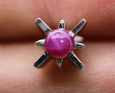 Lovely 14K White Gold Star-Shaped Tie Tack with a Single 1/4ct Star Ruby (1.13g)