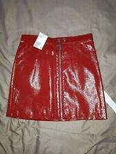 H&MRed Faux Leather Mini Skirt Size 10