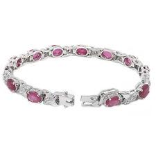 De Buman 14.99g Sterling Silver Natural Ruby & CZ Elegant Ladies Bracelet, 7.2''