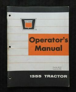 """GENUINE 1969 OLIVER """"1355"""" TRACTOR OPERATORS MANUAL VERY GOOD SHAPE"""
