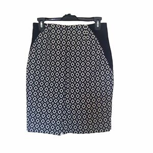 Worthington Size 4 Peitte Pencil Skirt Sz 4P Womens Black White  Diamond Lined