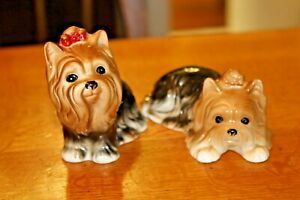 2 Vintage Cute Yorkshire Terrier Ornament Figurines China Ceramic Yorkie Dogs