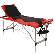3-Sections Folding Aluminum Tube Spa Bodybuilding Massage Table Black & Red Edge