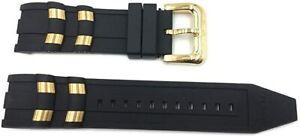 OEM Invicta Pro Diver Scuba Black Rubber Gold Inserts Strap Band 6981 6983