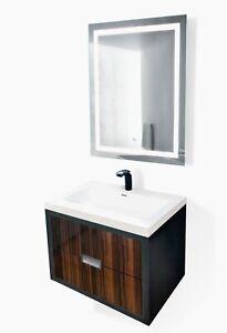 """Modern 24""""-60"""" Bathroom  Black/Wood /Zibrano/ Vanity +LED Mirror+sink+faucet"""
