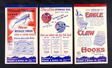 3 Wright and McGill Fishing Co. Notepad and Calendar 1954- 1955 Eagle Claw Lures