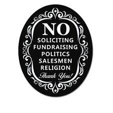 """Signs Authority """"No Soliciting"""" Oval Door/Wall 4"""" x 5"""" Sign Stylish Laser Cut"""