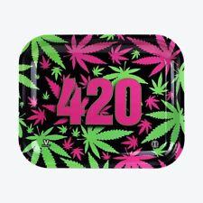 "Rolling Tray ""Pink Green Leaf 420"" 5"" x 7"
