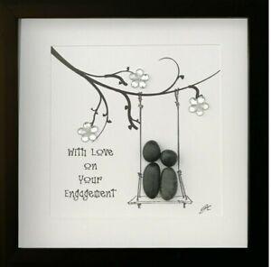 Personalised Pebble Art Picture Framed Gift Engagement Anniversary Love Keepsake
