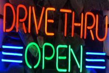 """New Drive Thru Open Beer Light Bar Neon Sign 17""""x14"""""""