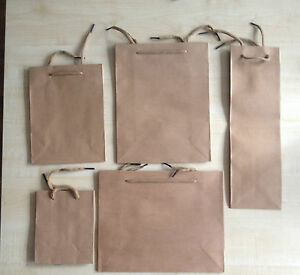 Natural Brown Paper Gift Jewelry Party Bag Food Carrier Bags -  UK Seller