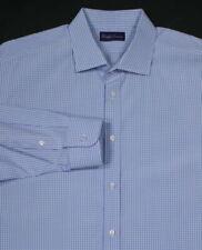 Camicie classiche da uomo blu con fantasia scacchi, quadretti