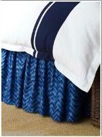 NWT Ralph Lauren King Bedskirt Indigo Modern Blue Herringbone Chevron Cotton