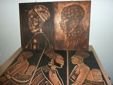30 BY 21.8CM BLACKEN WOODEN PANEL WITH KWETI ETCHED AFRICAN IMAGE OF NATIVE LADY