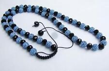 LONG SHAMBALLA CRYSTAL DISCO BALL GLASS BEADS NECKLACE CHAIN BLUE BLACK