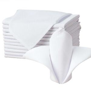 Stoffservietten 45 x 45 cm Damast oder Leinenoptik fein Uni Weiß ohne Muster