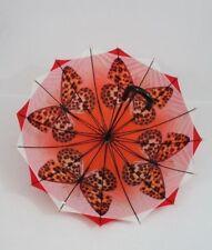 roter Regenschirm Stockschirm Damen  doppelt bespannt Susino Schmetterlinge