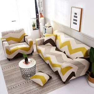 1 2 3 4  Sofa Cover Seater Slipcover Stretch Couch Printed Furniture Protector