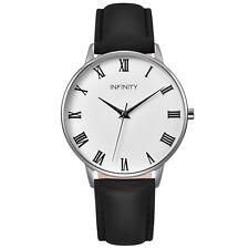 Infinity NB 02 Pearlwhite & Black Women Minimalist Watch - Leather Belt