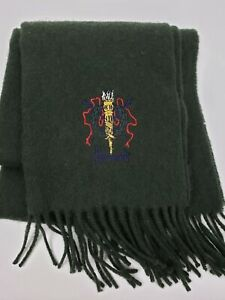 Harrods Knightsbridge Made in Scotland Pure LambsWool Scarf Green Embroidered