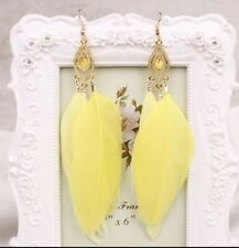 Earrings Boho Festival Party Boutique Uk Gold Yellow Long Drop Feather Fashion