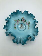 Victorian Blue Wedding Bride's Bridal Basket Art Glass Bowl