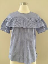 NWT J Crew Edie Top Ruffle Blouse Blue & White Shirting Stripe 2 Sold Out! F9398
