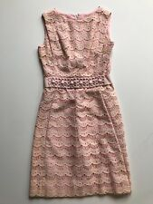 Vintage 1960s Scalloped Pink Cotton Cocktail Dress SMALL Beaded Waist Band