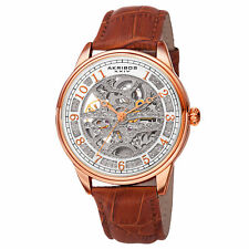 Men's Akribos XXIV AK807RGBR Skeleton Dial Automatic Movement Leather Watch