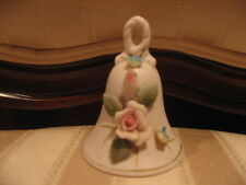"Beautiful Pale Pink Vintage Mini Porcelain 3"" Bell With Raised Pink Roses-Japan"