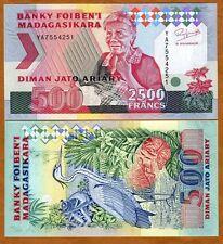 MADAGASCAR, 2500 Francs ND (1993), P-72Aa, UNC