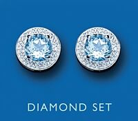 Blue Topaz and Diamond Earrings Stud Sterling Silver Studs Natural Stones