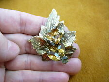(br-74) leaf yellow stones white rhinestones brass pin pendant brooch jewelry