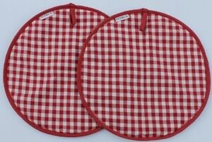 Red Gingham Checked Lid Covers Chef Pads Suitable for Aga PAIR