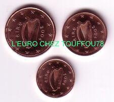 Pièces de 1,2,5cts euros d'Irlande 2004.