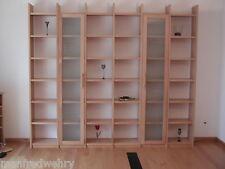 Bücherregal mit Glastüren Regalwand Buche Eiche Mahagoni Erle Weiß Massivholz